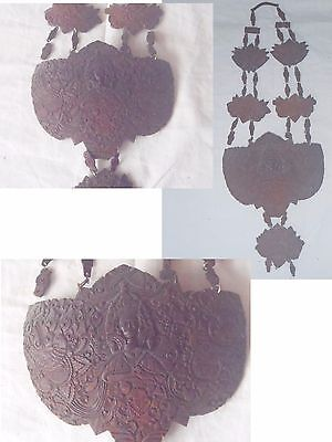 Antique Intricate fine scrimshaw carving - Coconut shell Necklace Thailand India