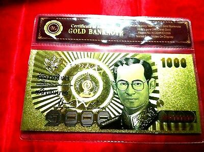 Thailand 24Kt Gold Banknote 1000 Thai Baht Bank Note Gold Coloured Novelty Note