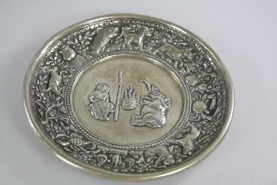 Antique Burma Hand Beaten 800 Silver Animal Motif Dish