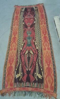 Huge Indonesian Sumba woven cloth panel with Mythological figure