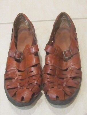 Vintage Brown Leather Woven Huarache Style Sandals 80s 90s Size 8.5/9