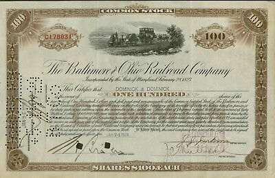 Aktie The Baltimore and Ohio Railroad Company  100 Shares 1929