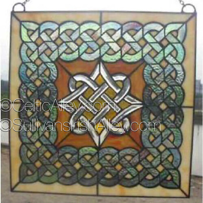 Celtic Diamond Beveled Glass Window 14""