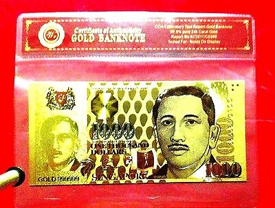 Singapore Gold Colour 1000 One Thousand Dollars Banknote 3D Unc 24Kt Note