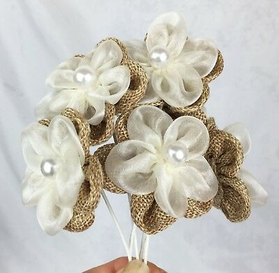 6 Burlap/Organza/Pearl Flowers 5cm  Scrapbooking, Cake Decorating, Weddings