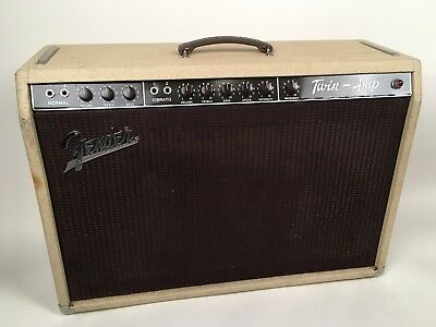 """1960 Fender Hi-Power Twin 2x12"""" White Tolex with Oxblood Grill Cloth Amplifier"""
