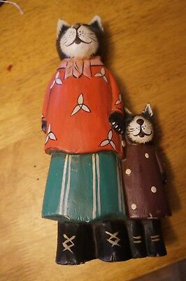 Folk-Art Hand Carved and Painted Cat Family Wooden