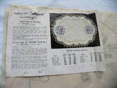 Vintage Unworked Myart Traced Linen  Floral Centrepiece Doily To Embroider 1473