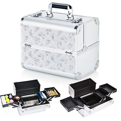 Extra Large Salon Storage Box Make up Nail Jewelry Cosmetic Vanity Case Silver