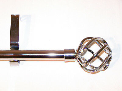 19mm Polished Chrome Eyelet Curtain Pole Cage Ball Finials 1.2m 1.5m 2.4m 3m