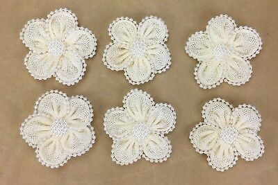 6 Pearl Edged Ivory Burlap Flowers 6cm Scrapbooking, Cake Decorating, Weddings