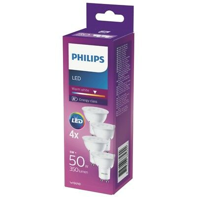 Philips LED Leuchtmittel 4-er Pack GU10 Warmweiß 5W (50W) 350lm