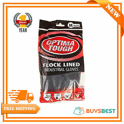 Heavy Duty Optima Tough Medium Size Rubber Gloves Industrial Flock Lined Glove
