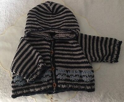Knitted Baby Hoodie With Goth Skulls 0-3 Month