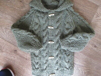 new hand knitted  aran  cardigan/jacket GREEN 12/18 months
