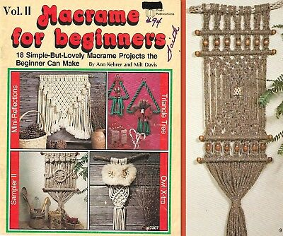"""Vintage 1979 Macrame Pattern Book """"macrame For Beginners"""" 18 Projects"""