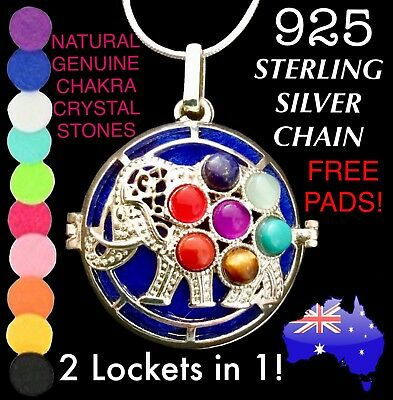 Elephant 7 Chakra Aromatherapy Essential Oil Diffuser Locket 925 Chain Necklace