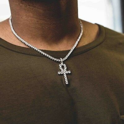 6b40ad2b3d7e3 MEN'S ANKH+3MM ROUND Cut Diamond Tennis Necklace Set 14k White Gold Over  Silver