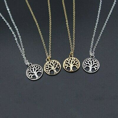 NEW Tree of Life Pendant Circle Charm Gold Silver Necklace Chain Women Jewelry