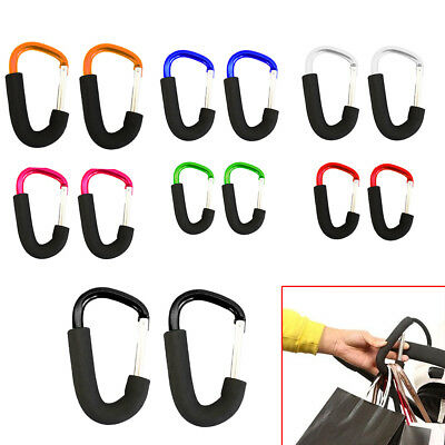 2x Shopping Bag Hooks For Buggy Pram Pushchair Stroller Clips Large Hand Carry U