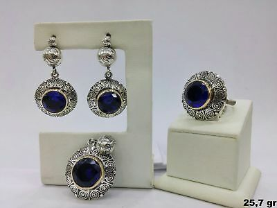 925 Sterling Silver  Handmade Jewelry Blue Sapphire Stone Ladie's Full Set
