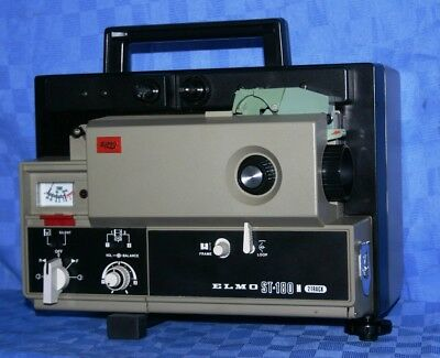 PROJECTOR HEAVEN. ELMO ST-180 SUPER 8mm 2 TRACK SOUND MOVIE PROJECTOR, SERVICED