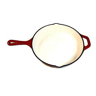 Chef's Quality Cast Iron Enamel Skillet Frying Pan, Heavy Duty Enameled Cookware