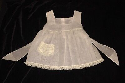 Vintage Sheer Dress Little Girl Baby Pinafore Apron White Lace Bow
