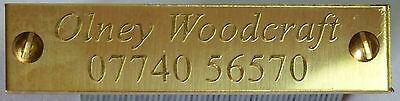 Diamond Cut Engraved Solid Brass Name Plate Plaque 50x12x1.5mm with or no screw