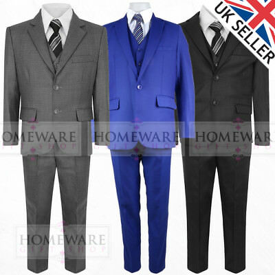 Boys Kids 5 Piece Wedding Suit Party Page Boy Designer Tailored Fit 1-15 Yrs New