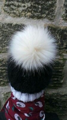 Cream Husky Pom Pom Faux fur Detachable press stud UK Handmade 45 cols