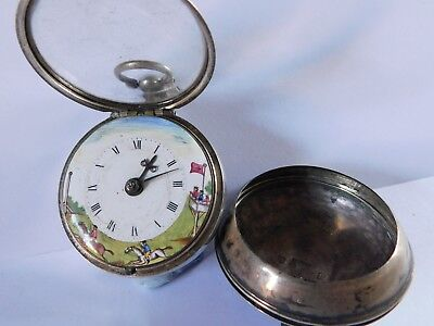 early ANTIQUE SOLID SILVER VERGE FUSEE PAIR CASE POCKET WATCH PAINTED DIAL