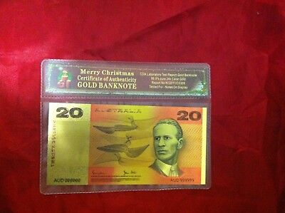 Christmas Australian Coloured Color 24Kt Gold Banknote Gift Special  Bank  Note