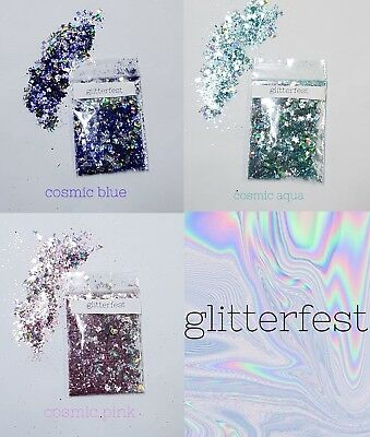 GLITTERFEST Mixed Flake Glitter for Face Body Hair Party MUA Festival Rave