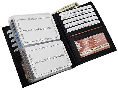 Mens Bifold 2 Id Western Large Wallet Genuine Leather Hipster Euro Inserts