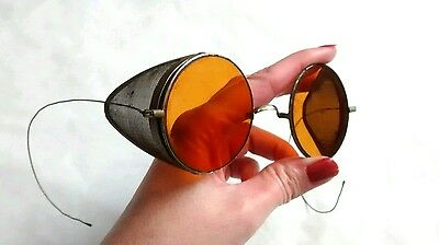 Antique Vintage Aviator Goggles Glasses Yellow Amber Tinted Steampunk Mesh