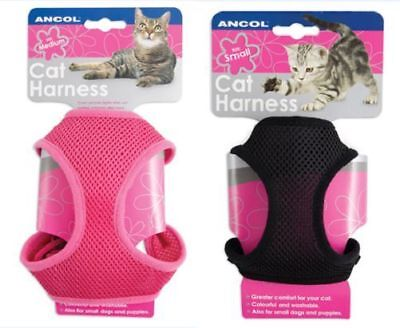 Ancol Cat Kitten Pet Soft Mesh Harness With Lead Pink Black Small Medium Large
