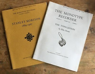 Monotype Recorder, 2 Copies, The typecasters, Stanley Morison, Letterpress.