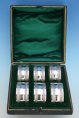 A Stunning Set Of 6 Victorian Cased Silver Plated Numbered Napkin Rings - 7 - 12