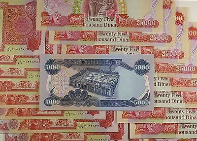 Iraqi Dinar 500,000 - 20 x 25,0000  UNCIRCULATED GUARANTEED- BONUS 5000 NOTE