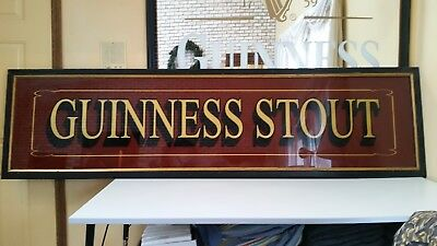 """RARE! EXTRA LARGE! Guinness Stout Beer Bar Mirror Wooden Frame 100 X 26"""""""