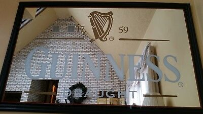 LARGE! Guinness Draught Beer Bar Mirror Wooden Frame 65 X 41
