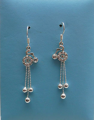 Vintage Bicycle Dangle Earring  Clear Crystal Rhinestone Fashion Jewelry E1289