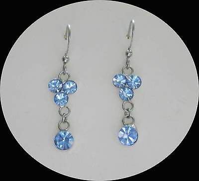 Vintage Flower Earrings with Lt Sapphire Australia Crystals E1338