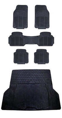 5pce Rubber Car Mats & Rubber Boot Trunk Liner Mat For PEUGEOT BIPPER 2008