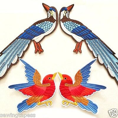 Set of 4 Peacock Swallow Bird Fashion Applique Embroidered Iron On Patch