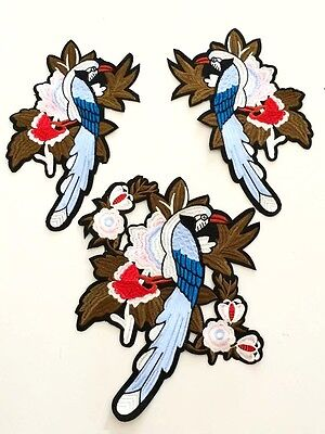 Set of 3 Peacock Bird Floral Fashion Applique Embroidered Iron On Sew On Patch