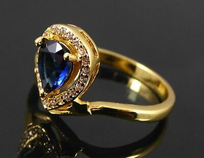 Gold Plated Sapphire Blue & Clear Cubic Zirconia Ring. Uk Size T1/2. Usa 10 (X1)
