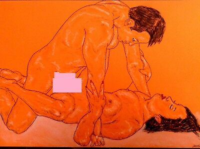 Original Freehand Erotic Drawing - ' Super Lover's ' - *see Extra Pic