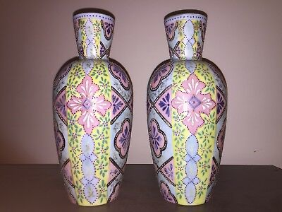 Pair Of Antique Thomas Webb Persian Enameled Glass Vases Enamel Jewled Victorian